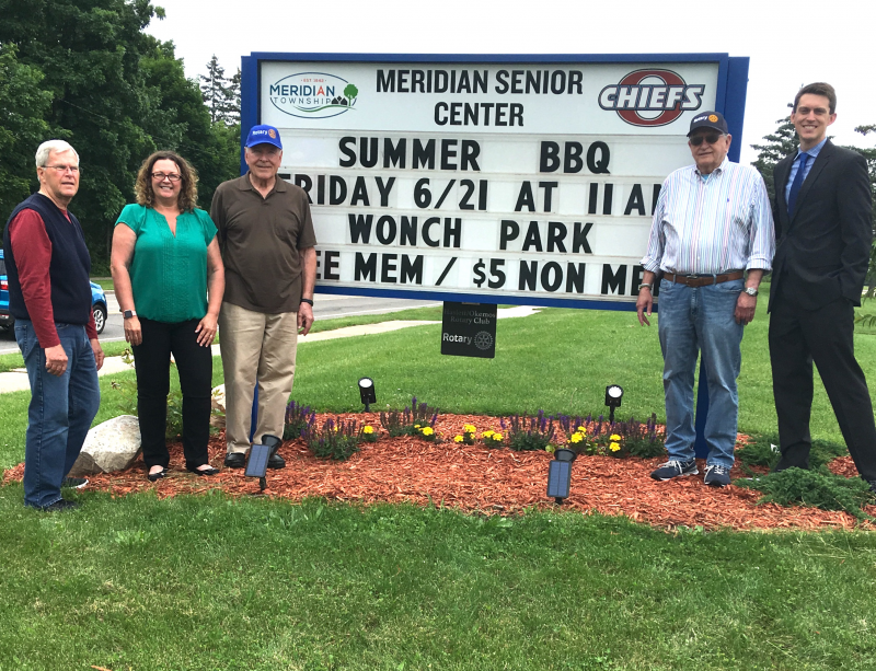 Club dedication of new signage we funded for the Meridian Senior Center